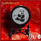 成都特色礼品,蜀绣双熊猫