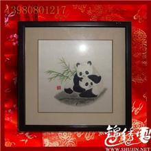 母子情熊猫蜀绣