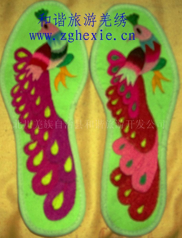 绣花鞋垫孔雀
