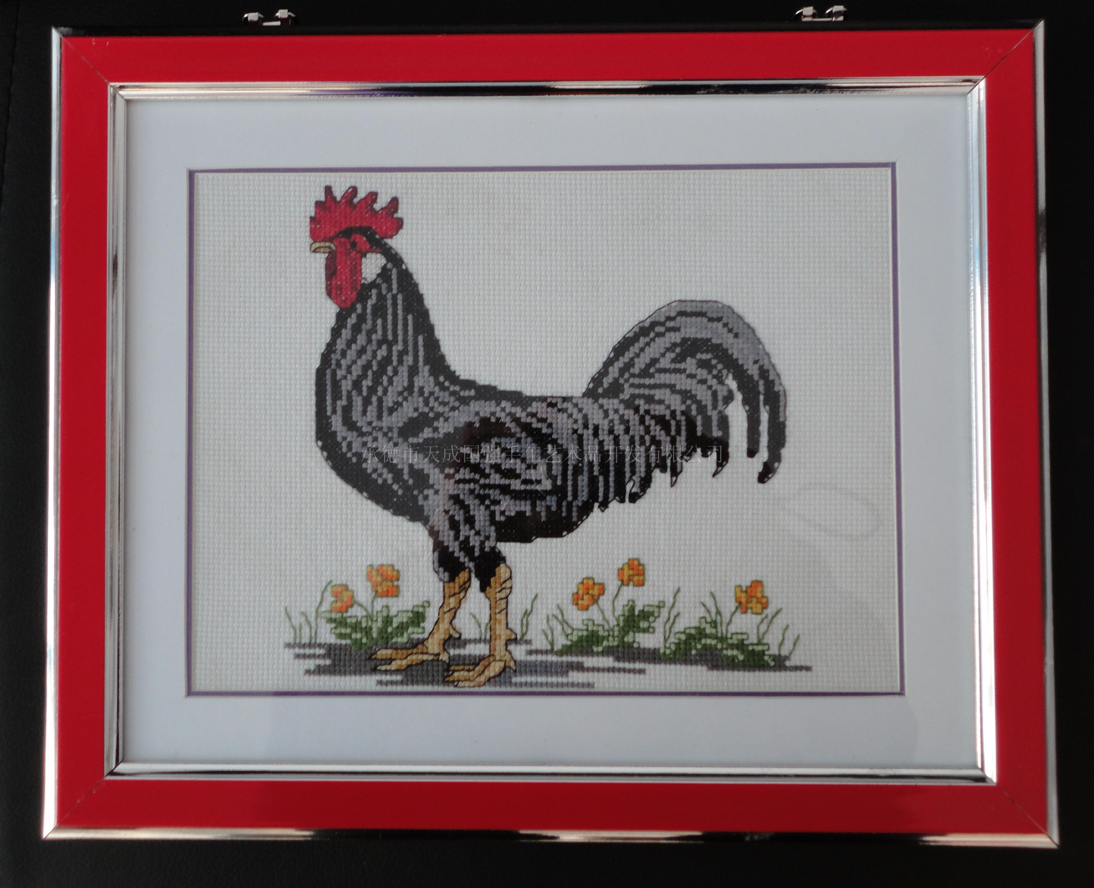 大公鸡 动物刺绣画 家居装饰画 产品展示 承德市天成国强手工艺术品开图片