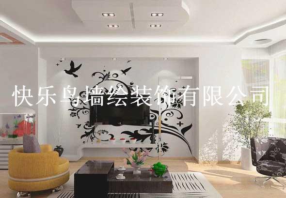 电视背景黑白花藤_快乐鸟墙绘装饰有限公司