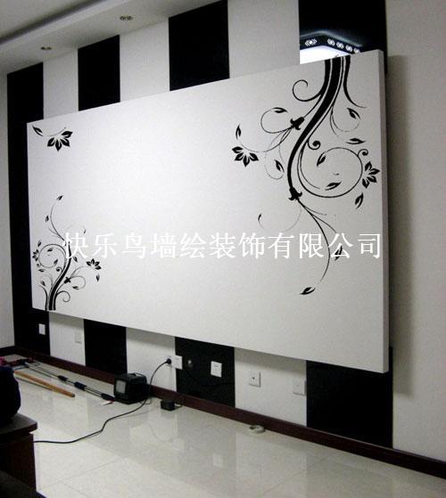 黑白花藤_快乐鸟墙绘装饰有限公司