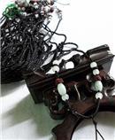 玉石轉運珠 黑絲線 掛繩