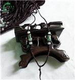 玉石平安瓶 咖啡色絲線 掛繩