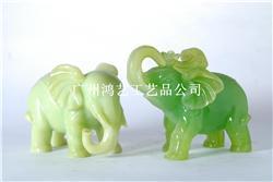 玉石大象摆件一对