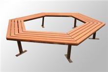 六边形围树椅_六角塑木树围座椅_塑木树池坐凳_树围椅子厂家   012