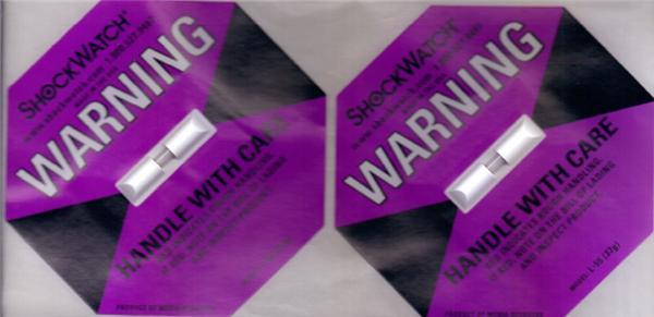 紫色防震动标签SHOCKWATCH(37G)