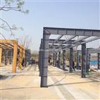 制作安装钢结构廊架钢化玻璃廊架