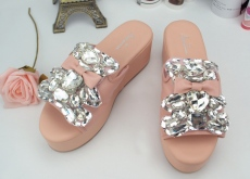 2014夏季新款进口奢华水钻蝴蝶结小熊牛皮拖鞋真皮凉鞋