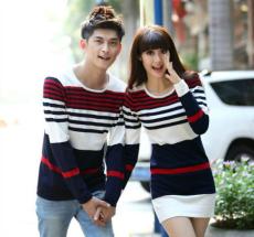 2014年新款条纹毛衣情侣装