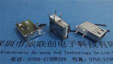 AF侧插长体USB19.4(弯脚+直边)90度四脚侧插DIP