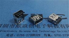 AF USB两脚沉板插板DIP 有卷边+弯脚7.2(加长)PBT黑胶【ROHS】环保