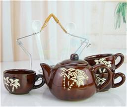 咖啡茶具套装 陶瓷杯带 五星铁架 带勺