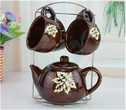 陶瓷杯带铁架 咖啡杯图案