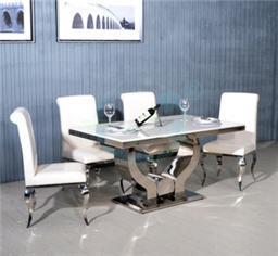 新款不锈钢佛手大理石欧式简约餐桌椅组合
