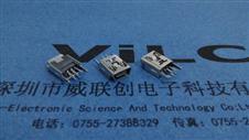 挺立式MINI 5P USB母座 直插直脚(长针)