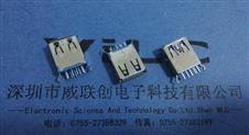 USB3.0母座AF180度立式插板DIP15.0mm弯脚有卷边