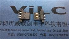 USB 黑色沉板胶芯 4P 全贴片-SMD LCP耐高温260度