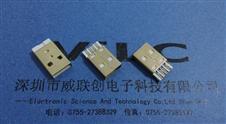 AM-USB=A公短体焊线式+无脚公头+外壳全镀金+白色胶芯