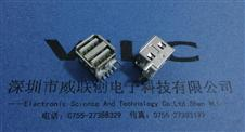 双层90度USB短体11.5反向有卷边