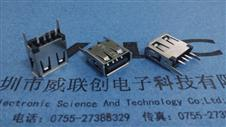 A母 USB 180度 13.7直插 直脚 卷边(规格长度有:13.7-13.0-15.0-18.6)LCP黑胶