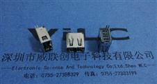 USB AF180度正反插+夹板内卷边立式双面插USB母座