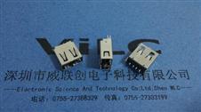 AF180度正反插USB母座+立式夹板双面插USB铜壳圆边