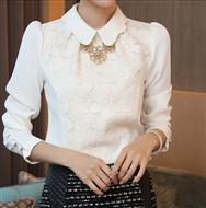 Spring slim Lace Chiffon shirt temperament