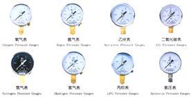氨气压力表,氧气压力表,乙炔压力表