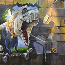 深圳今点墙绘艺术、手绘3D立体画、商业壁画