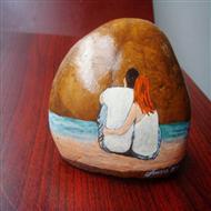 手绘石头画艺术