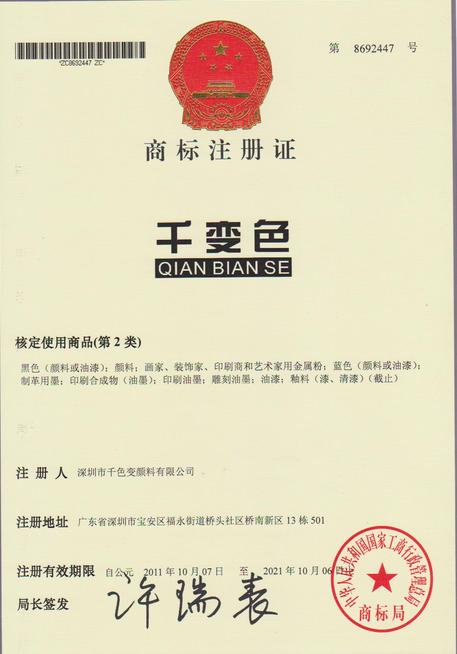 千变色商标注册证书