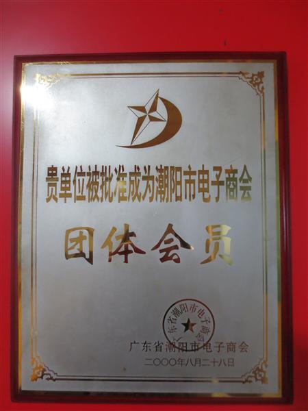 获得潮阳市电子商会团体会员