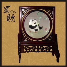 四川蜀绣店,碗熊猫