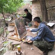 画家团队户外写生创作